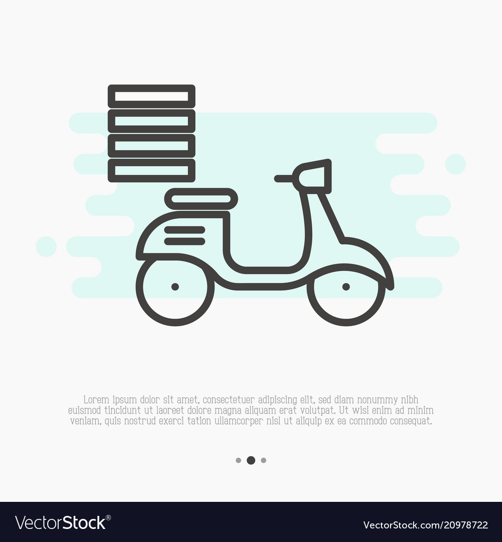 Fast food delivery by motorbike thin line icon