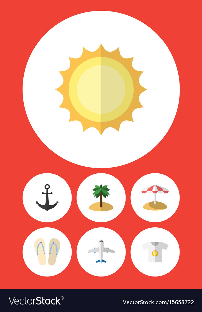 Flat icon summer set of beach sandals parasol vector image