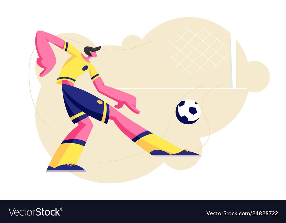 Football player character in uniform kicking ball