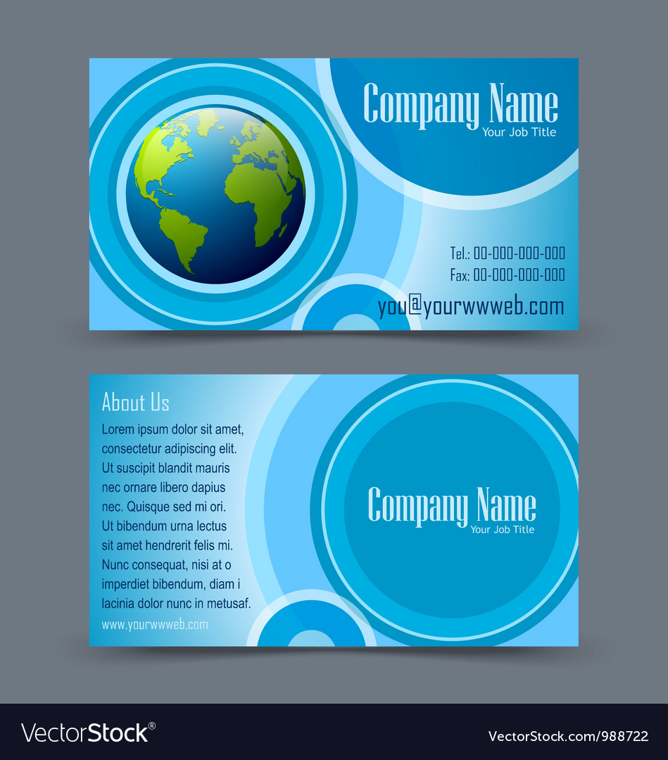 Globe theme business card royalty free vector image globe theme business card vector image reheart Images
