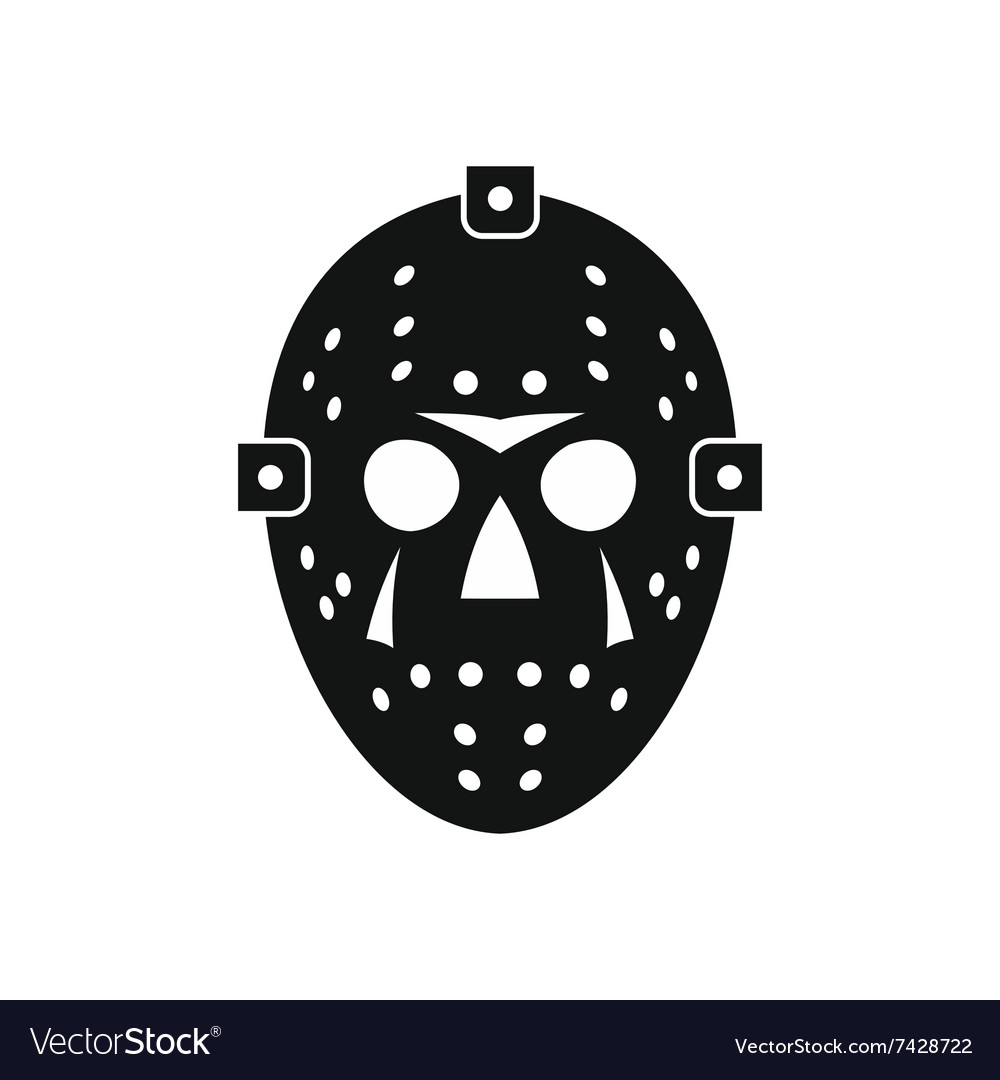 Halloween Hockey Mask Black Simple Icon Royalty Free Vector