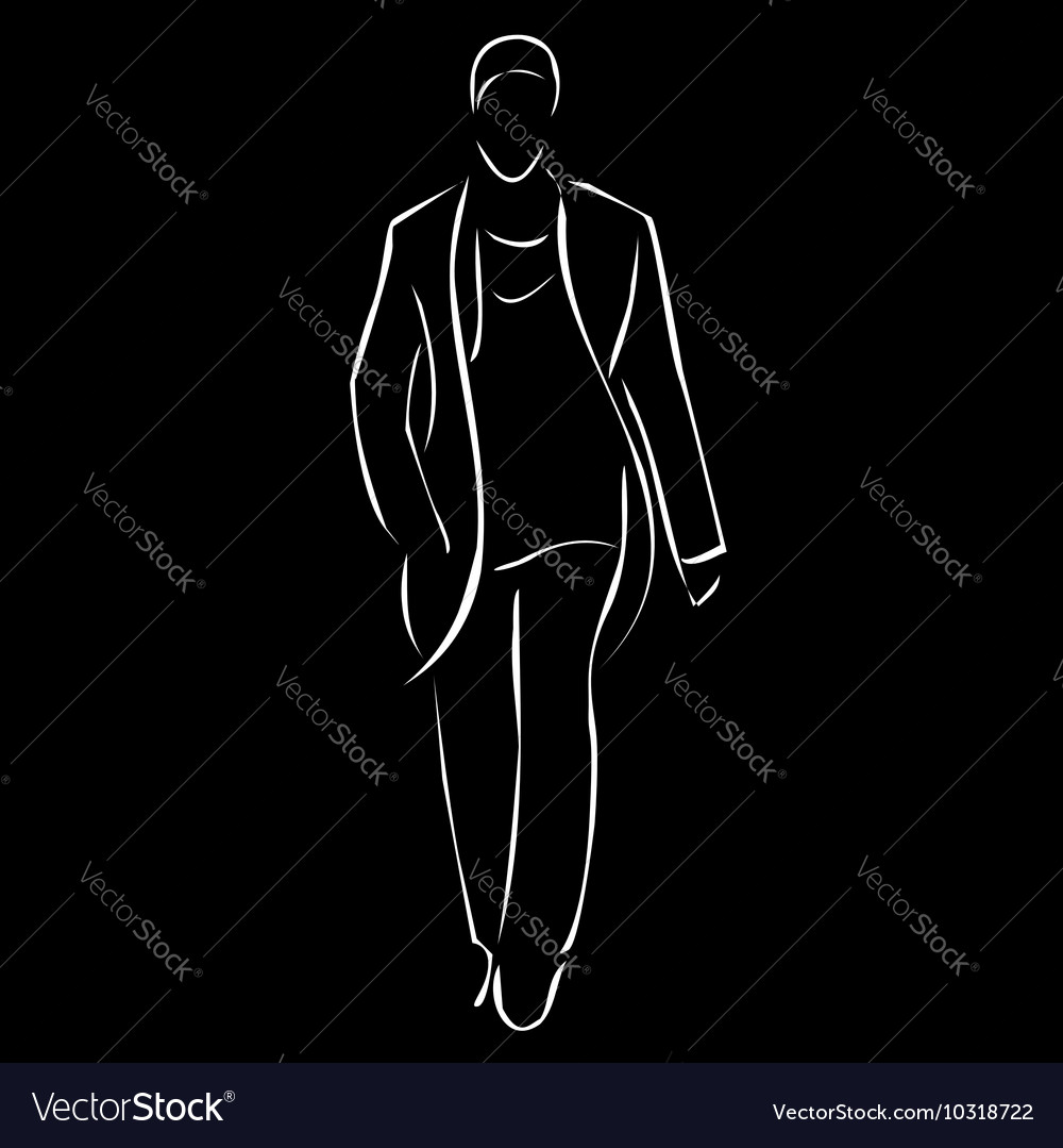 Male model on fashion show vector image