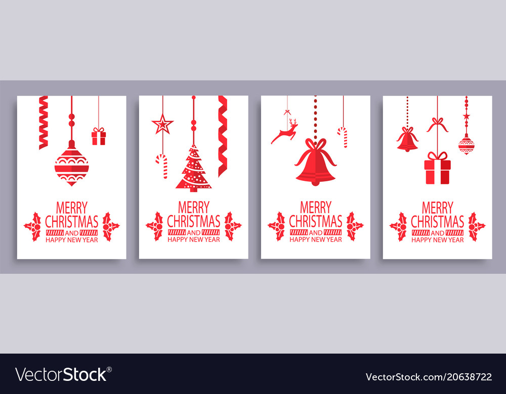 Merry christmas and happy new year festive symbols