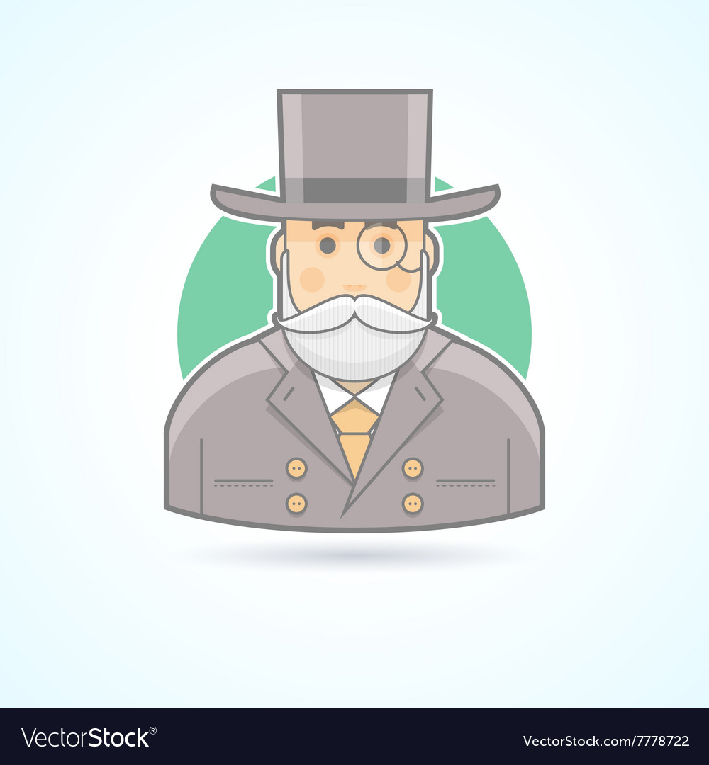 Richman wealthy old man banker icon vector image