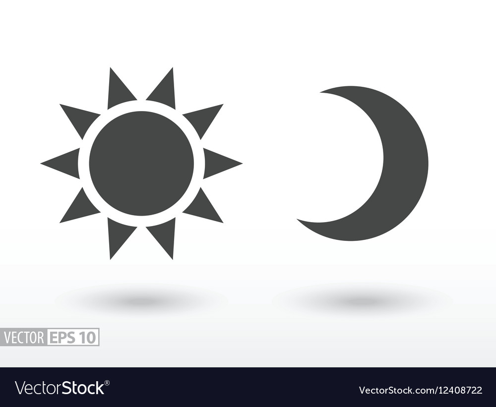 Sun and moon flat icon logo for web design mobile