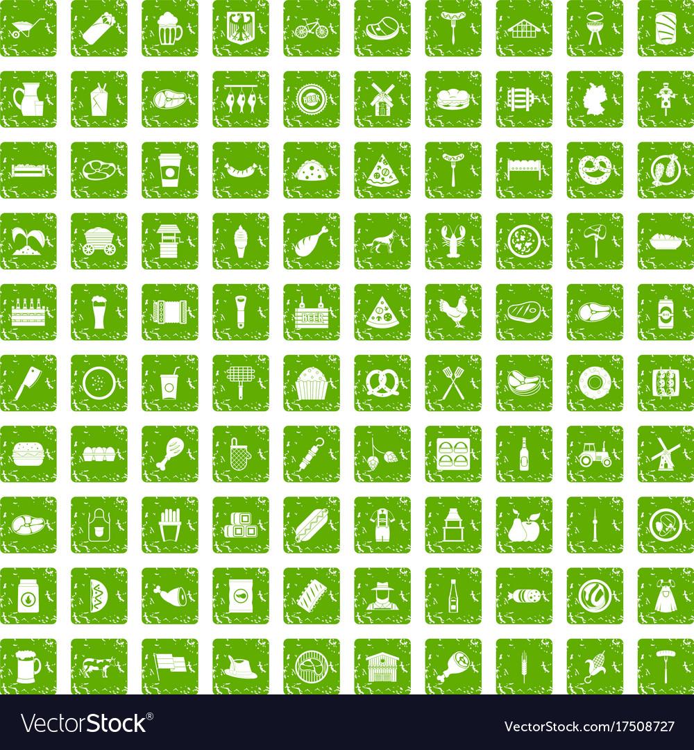 100 meat icons set grunge green