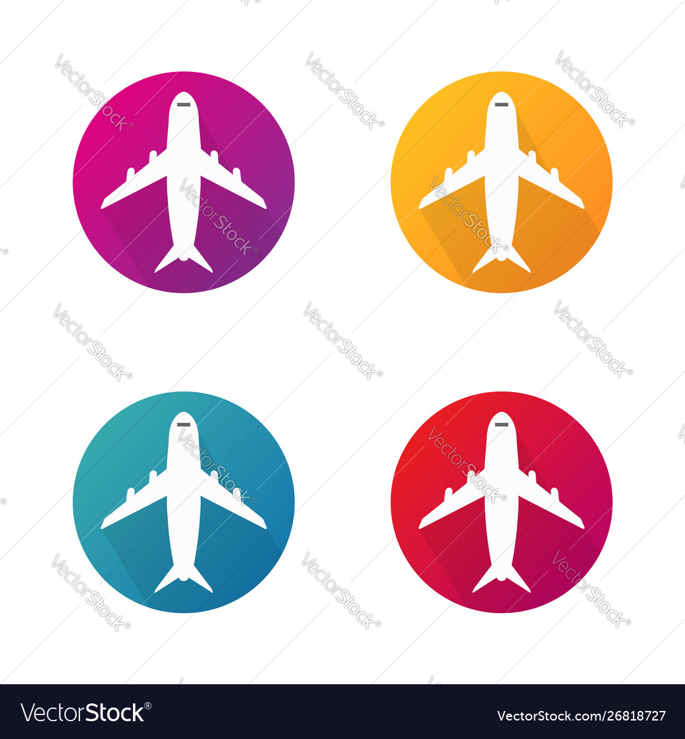 Airplane icons in circle aircraft round buttons