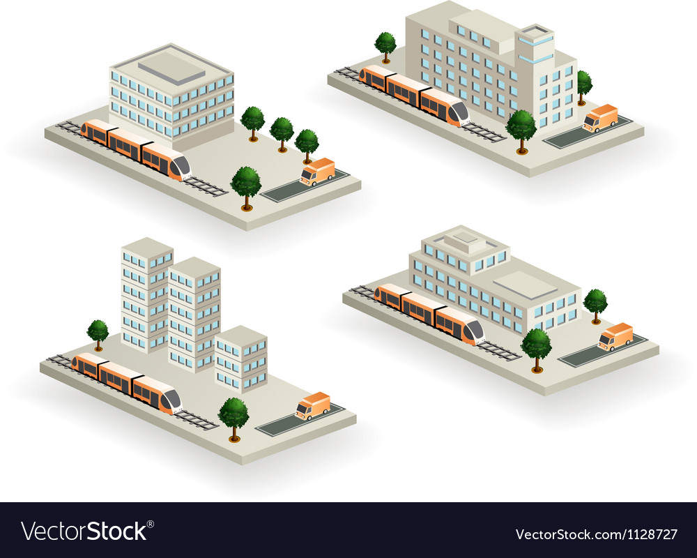 Buildings with urban transport vector image