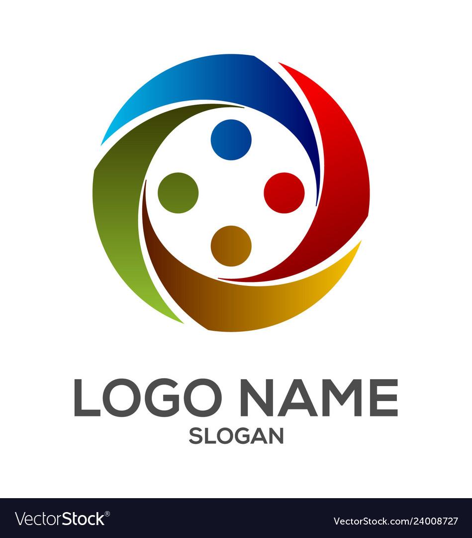Circle human element logo design