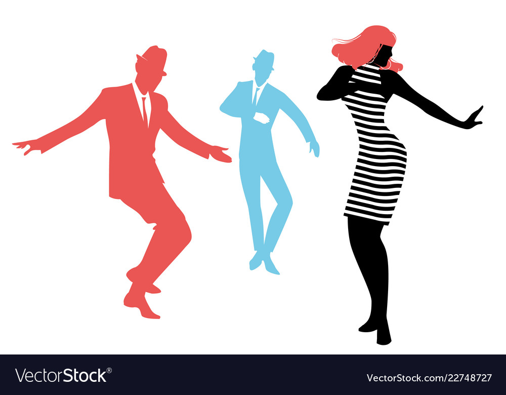 Elegant silhouettes of people wearing clothes of