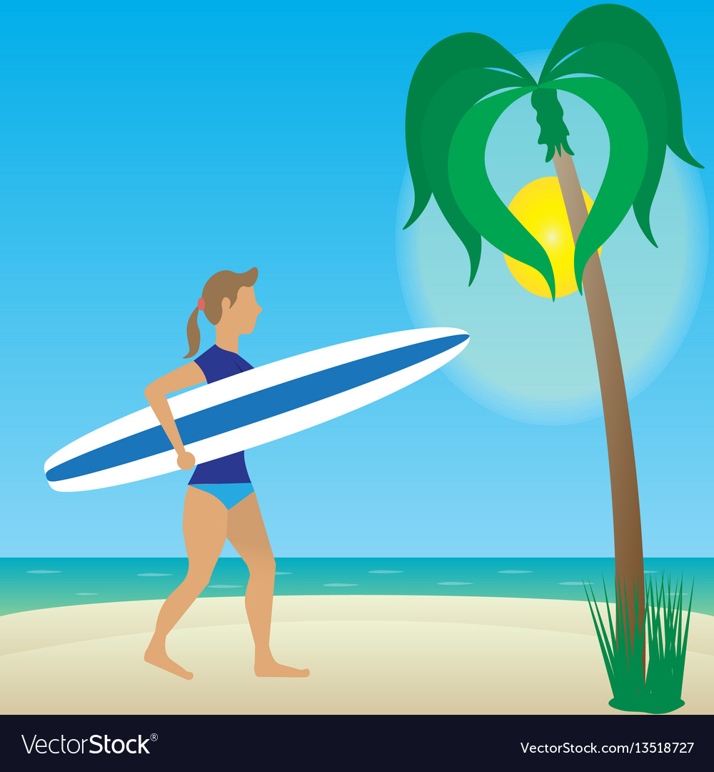 Flat girl with longboard on beach
