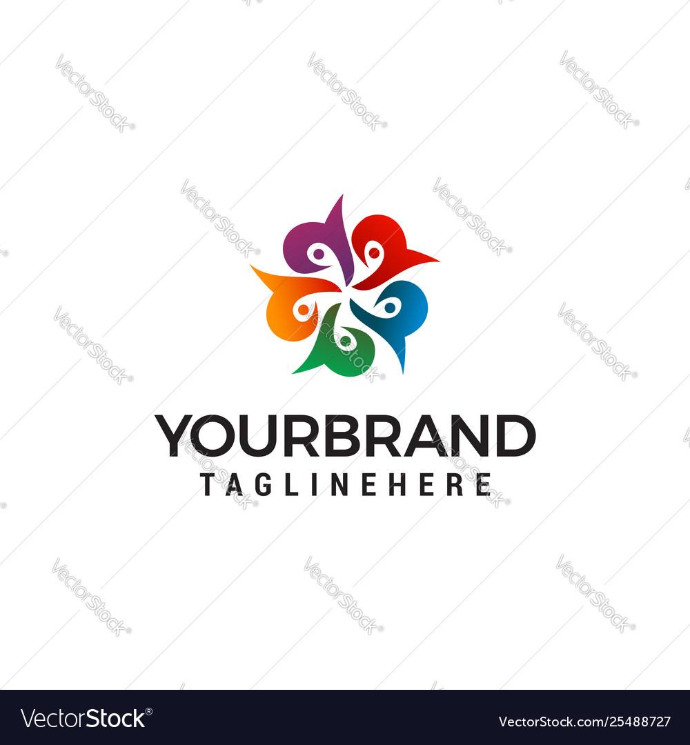 Flower abstract logo design concept template