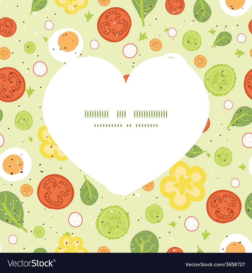 Fresh salad heart silhouette pattern frame