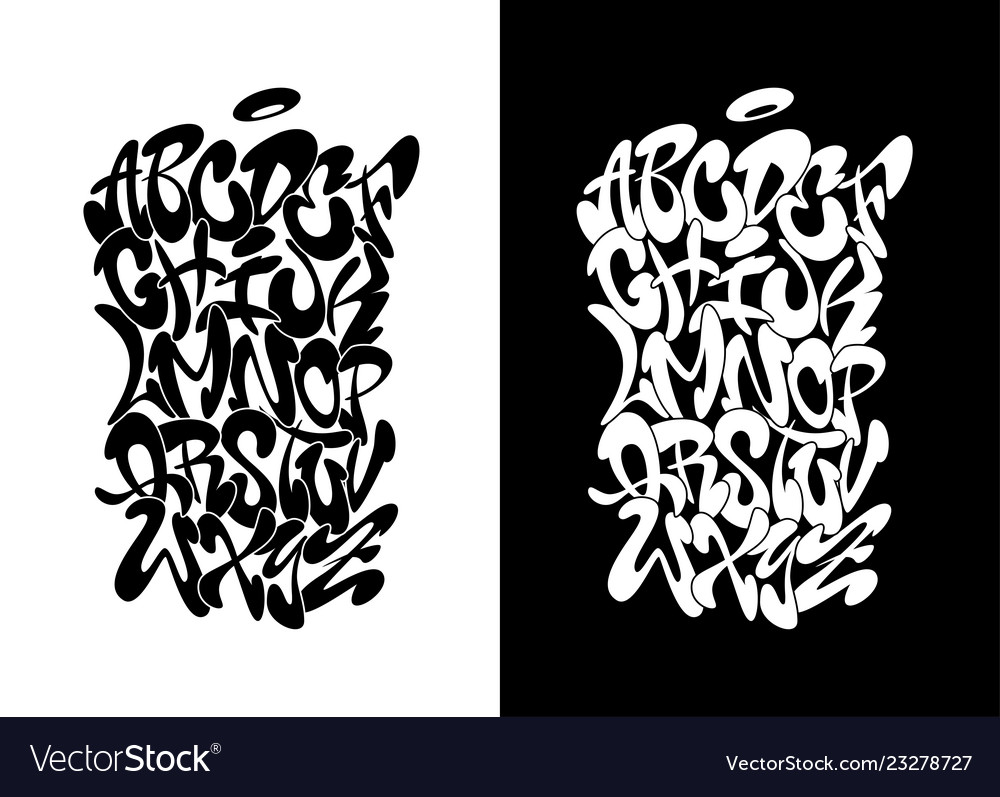 Handwritten graffiti font alphabet n black over