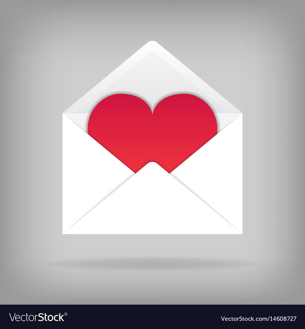 Heart in the open envelope