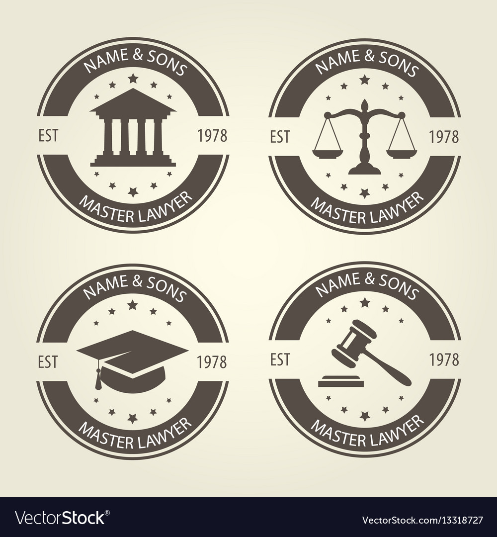 Lawyer bureau emblems and labels