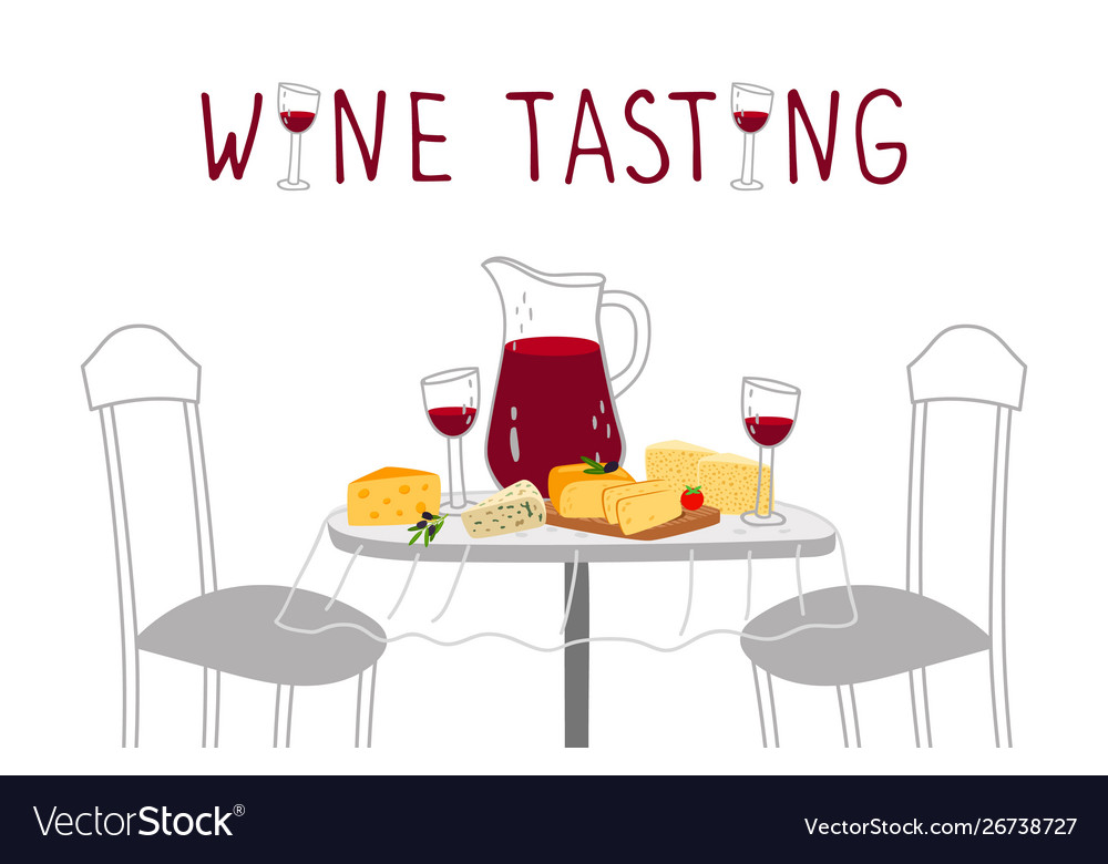 Wine tasting poster red wine cheese