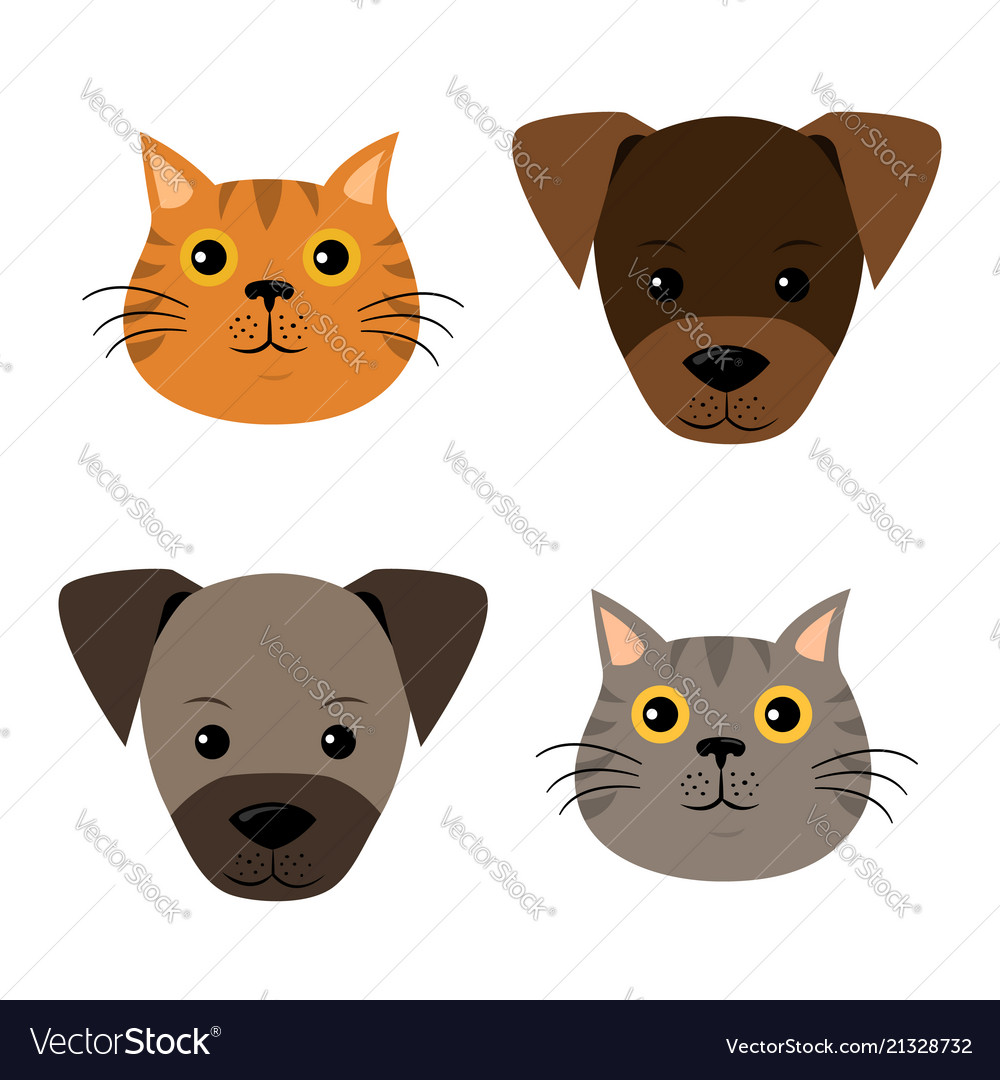 A set of dog cat faces in flat style