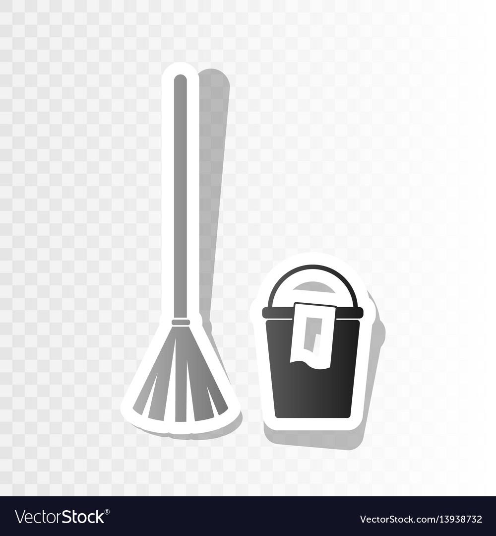 Broom and bucket sign new year blackish vector image
