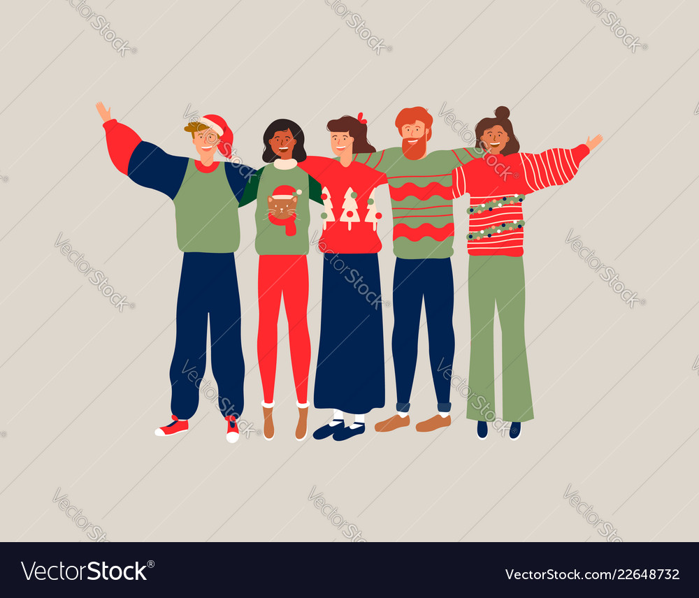 Christmas people friend group hug