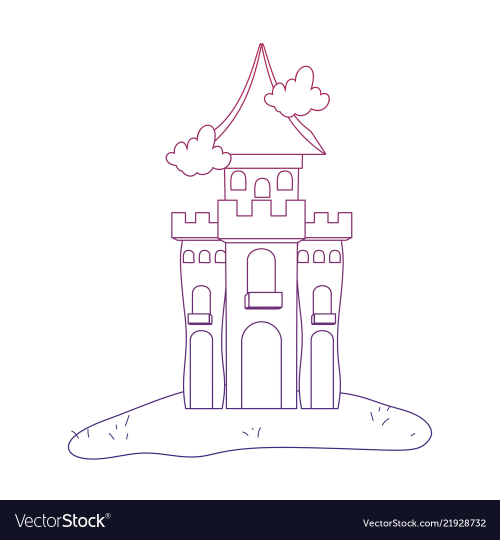 Degraded Outline Mystery Castle With Scary Vector Image