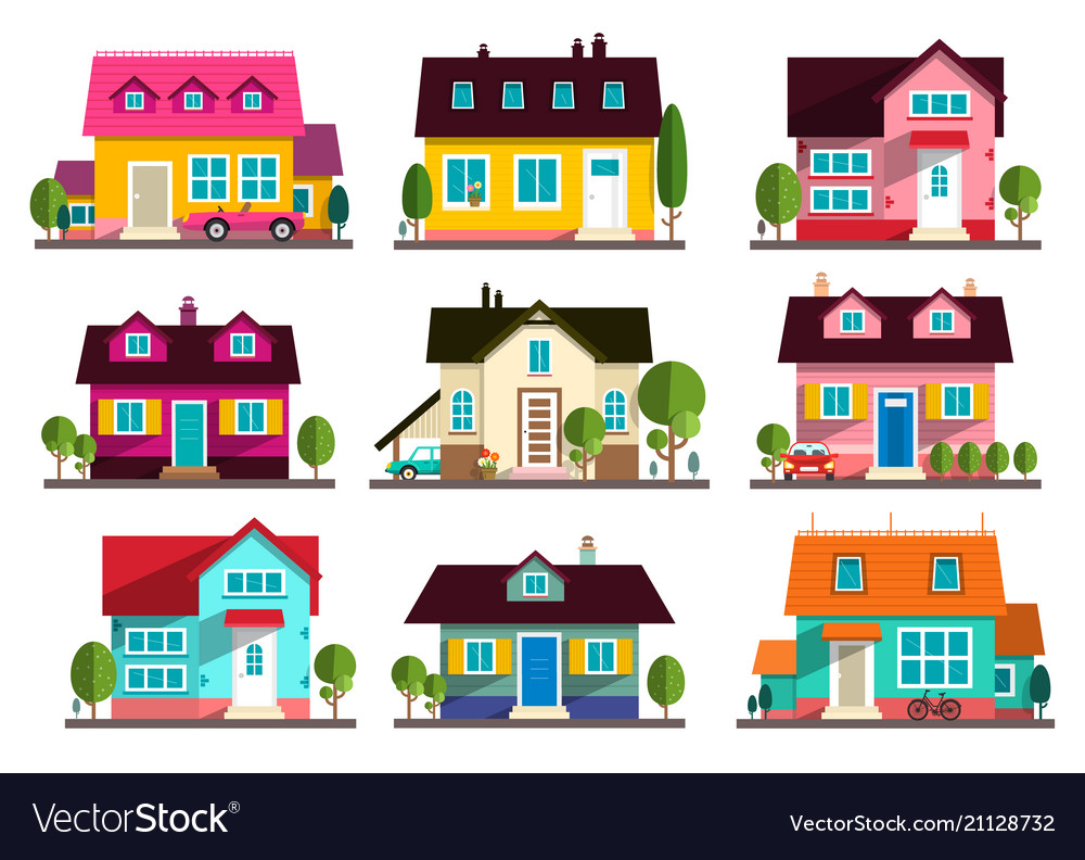 Family house flat design buildings icons set