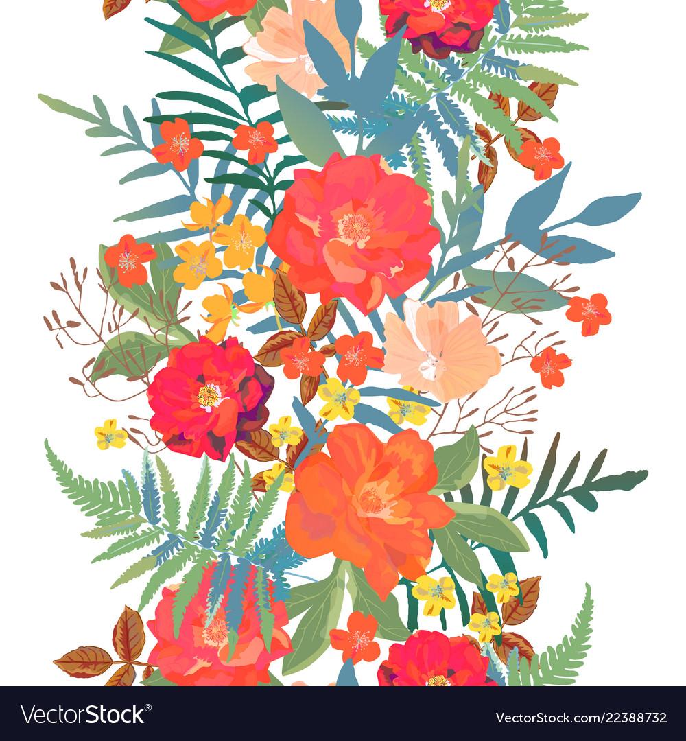 Flowers seamless border hand drawn for print