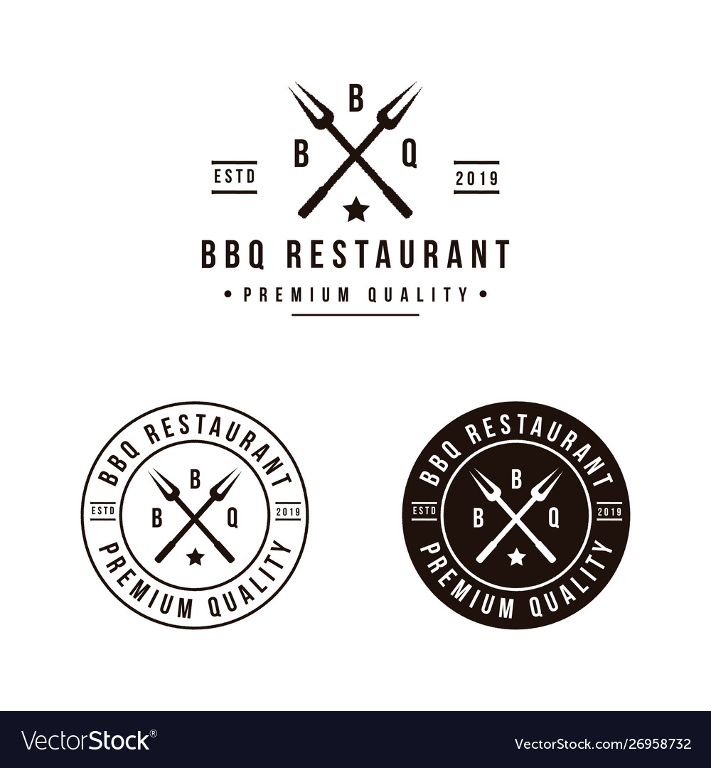 Grill barbeque with crossed fork logo design