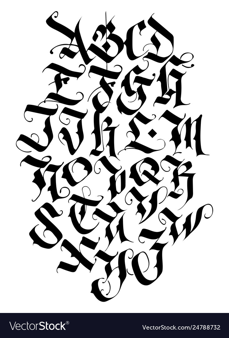 Handwritten calligraphy alphabet set