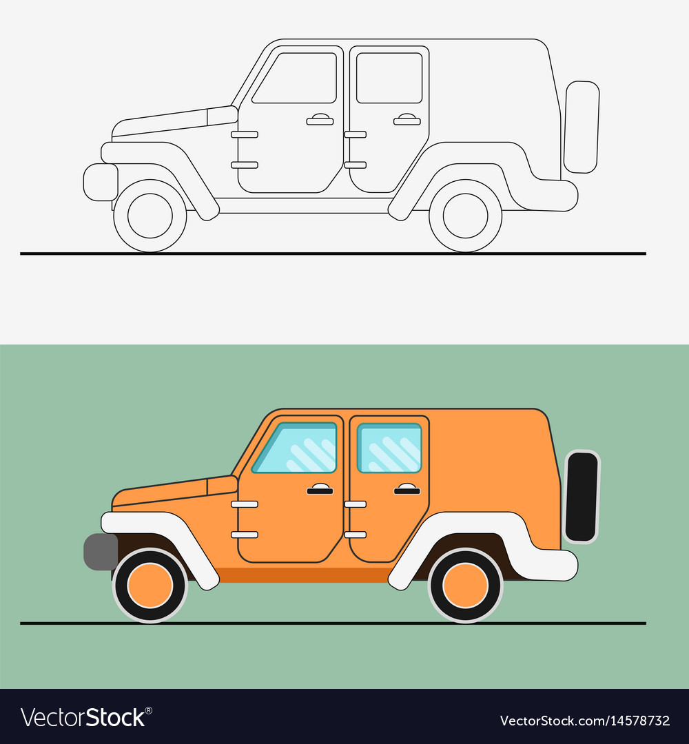 Jeep suv line art jeep