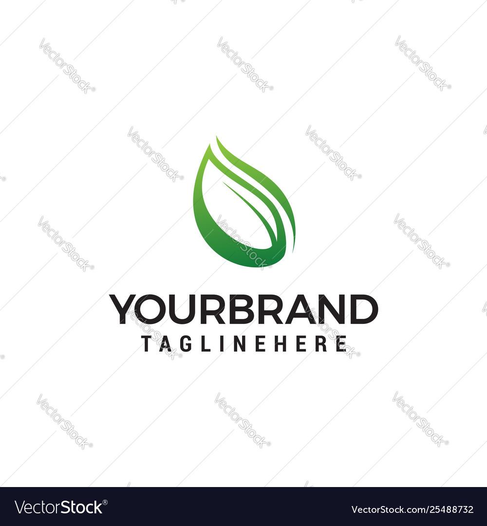 Natural leaf logo design concept template