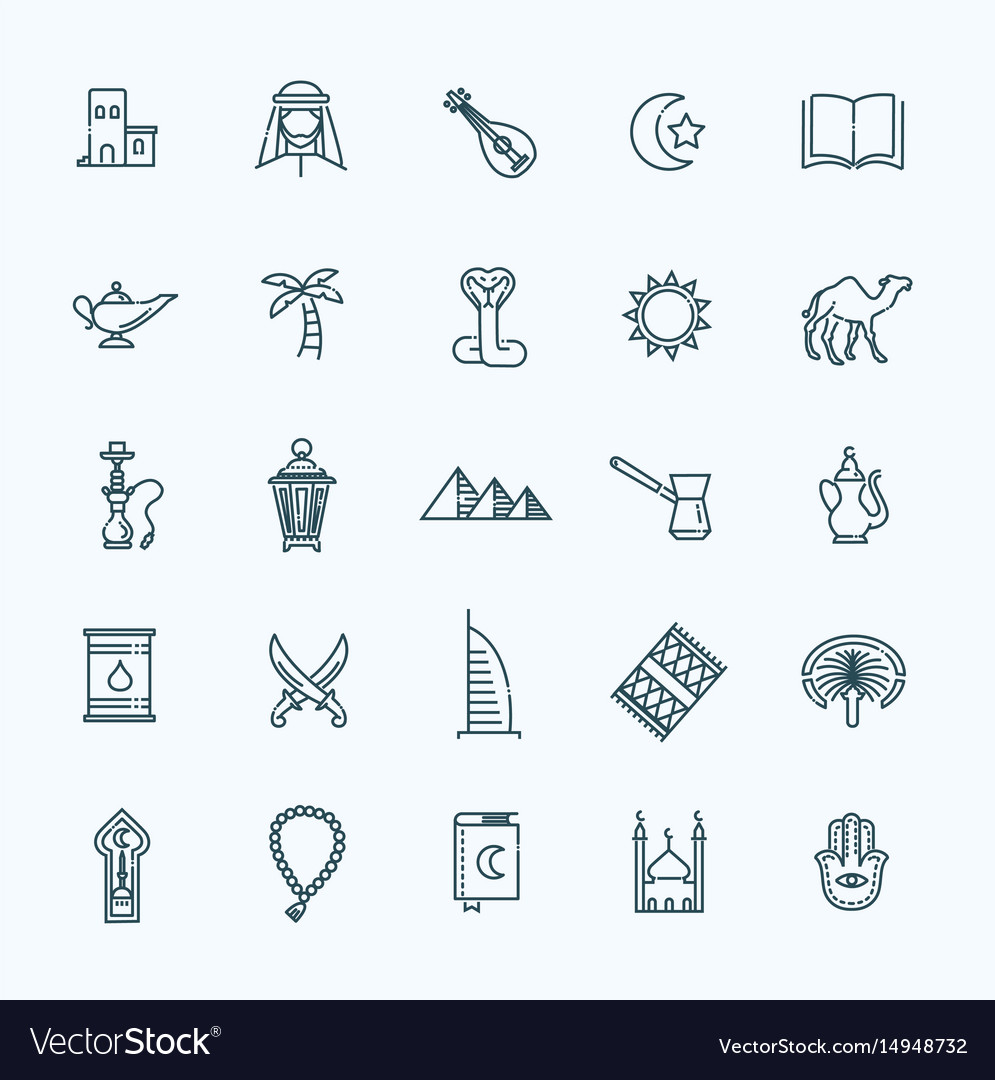 Outline icons set - islam collection