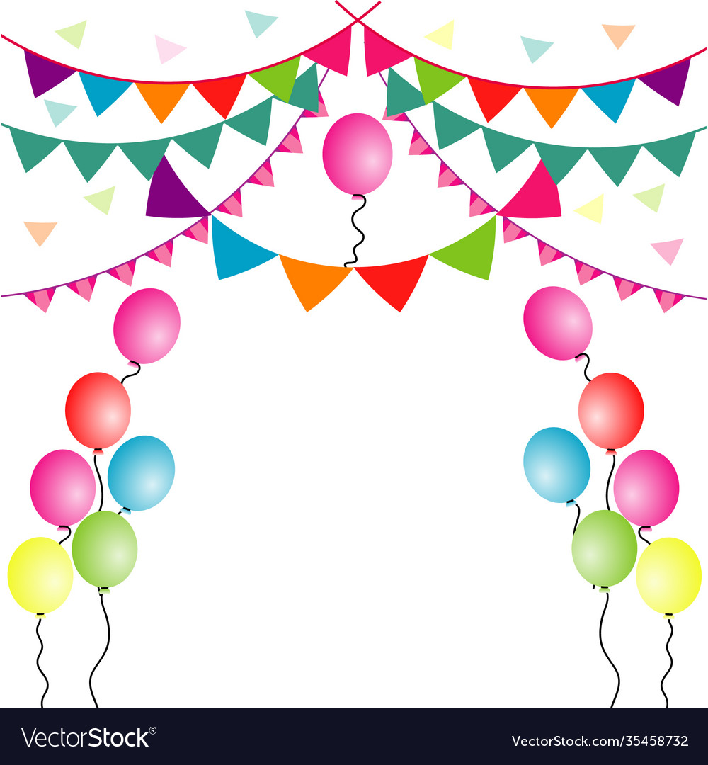 Party flag with balloons on white background