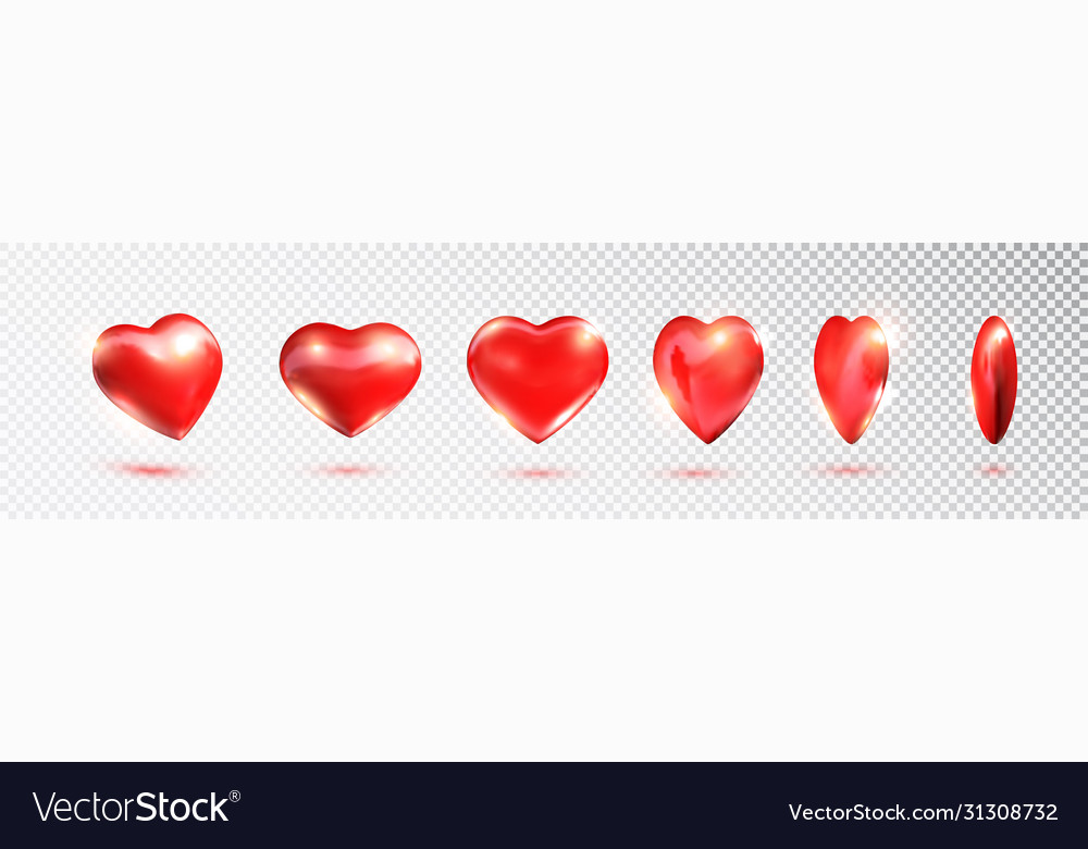 Red 3d hearts set valentines day love symbol