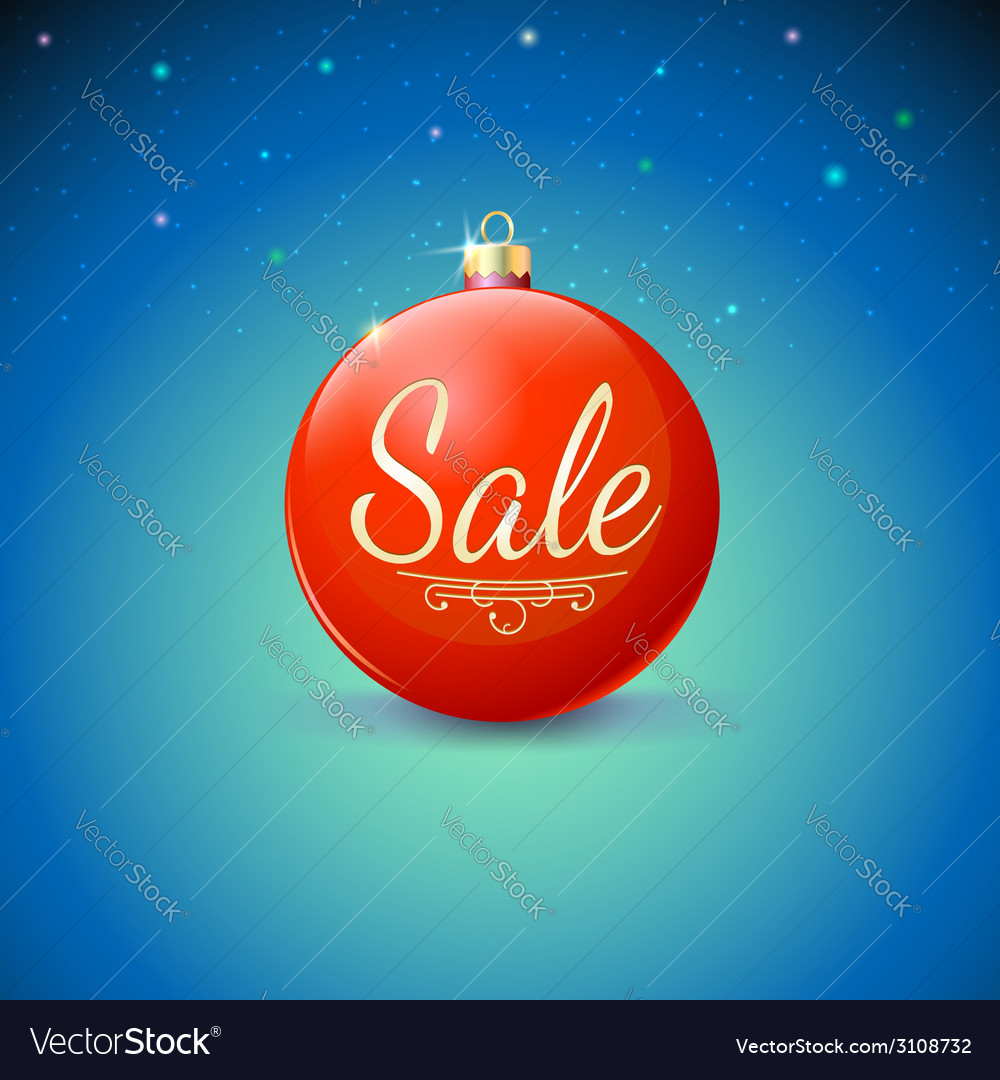 Sale red Christmas ball over starry background