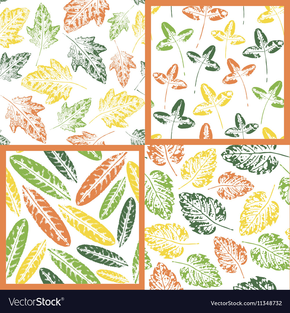 Set of Leaf imprint patterns vector image