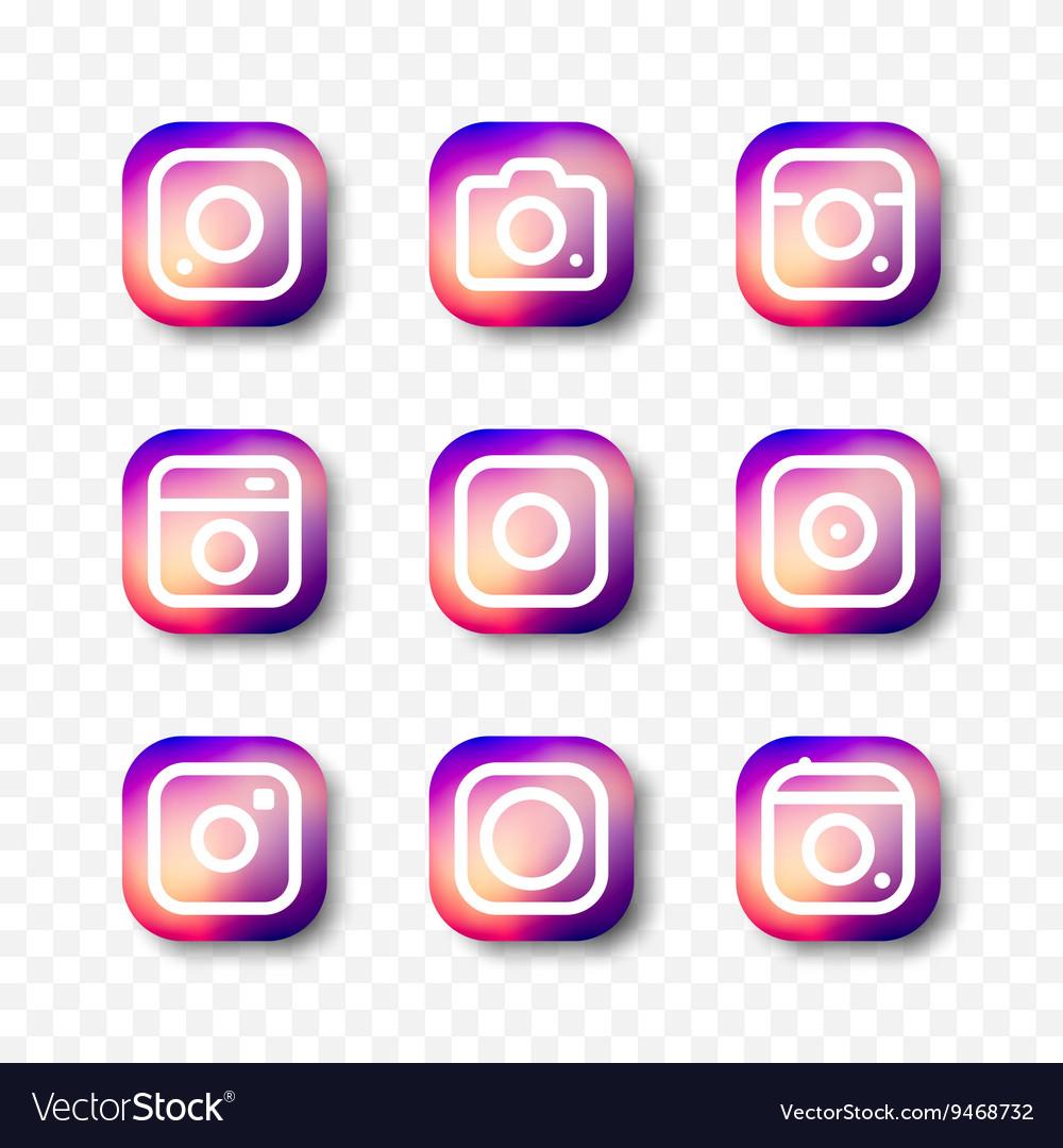 Simple camera icon set social media