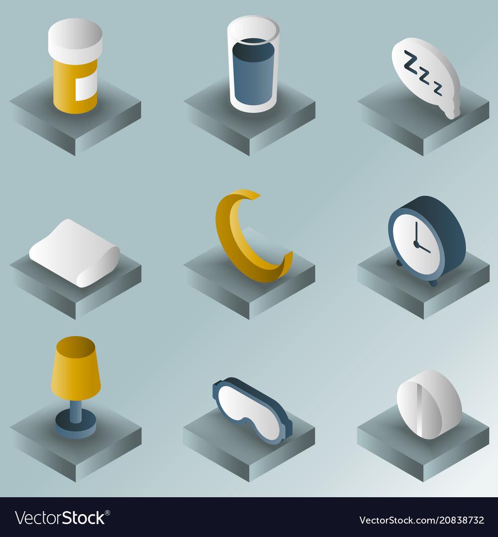 Sleep color gradient isometric icons