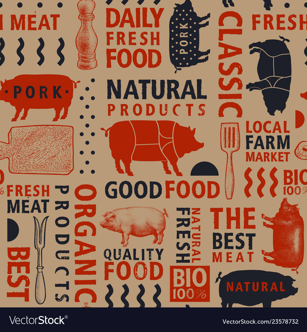 Typographic craft butchery seamless pattern