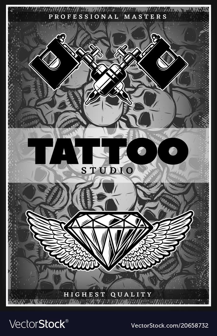 Vintage monochrome tattoo studio poster