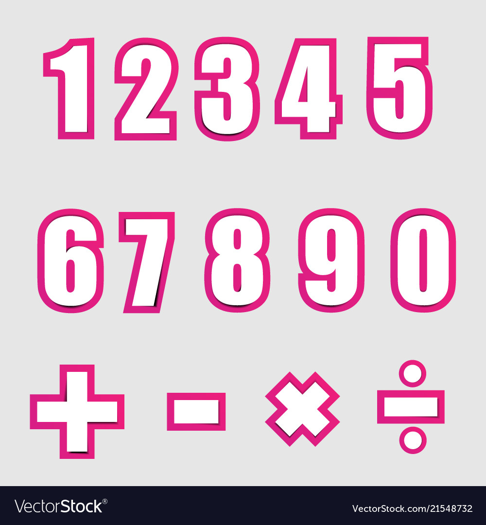 White paper graphic alphabet numbers on pink