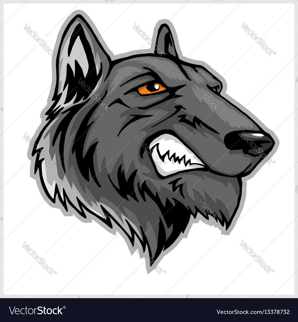 Wolf head mascot isolated on white