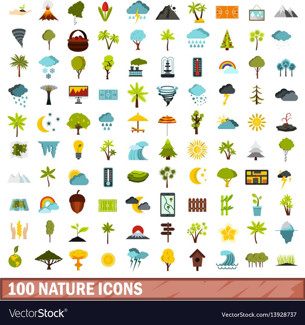 100 nature icons set flat style