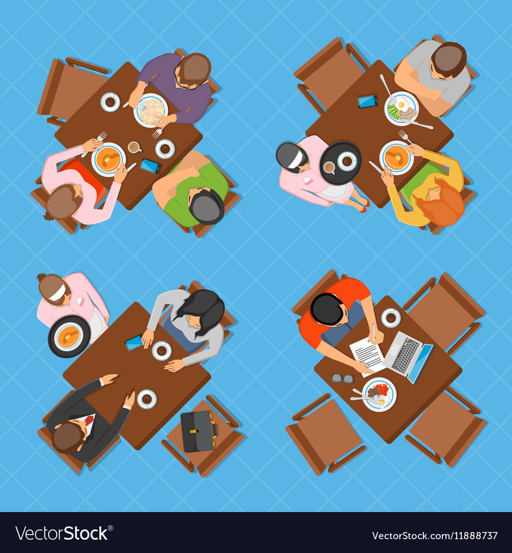 Business People In Cafe Top View Composition vector image
