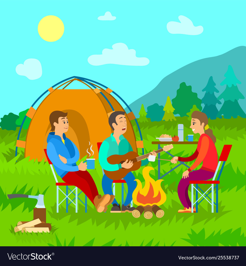 Camping campfire and tent friends with guitar