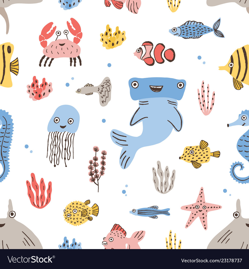 Childish seamless pattern with funny sea and ocean