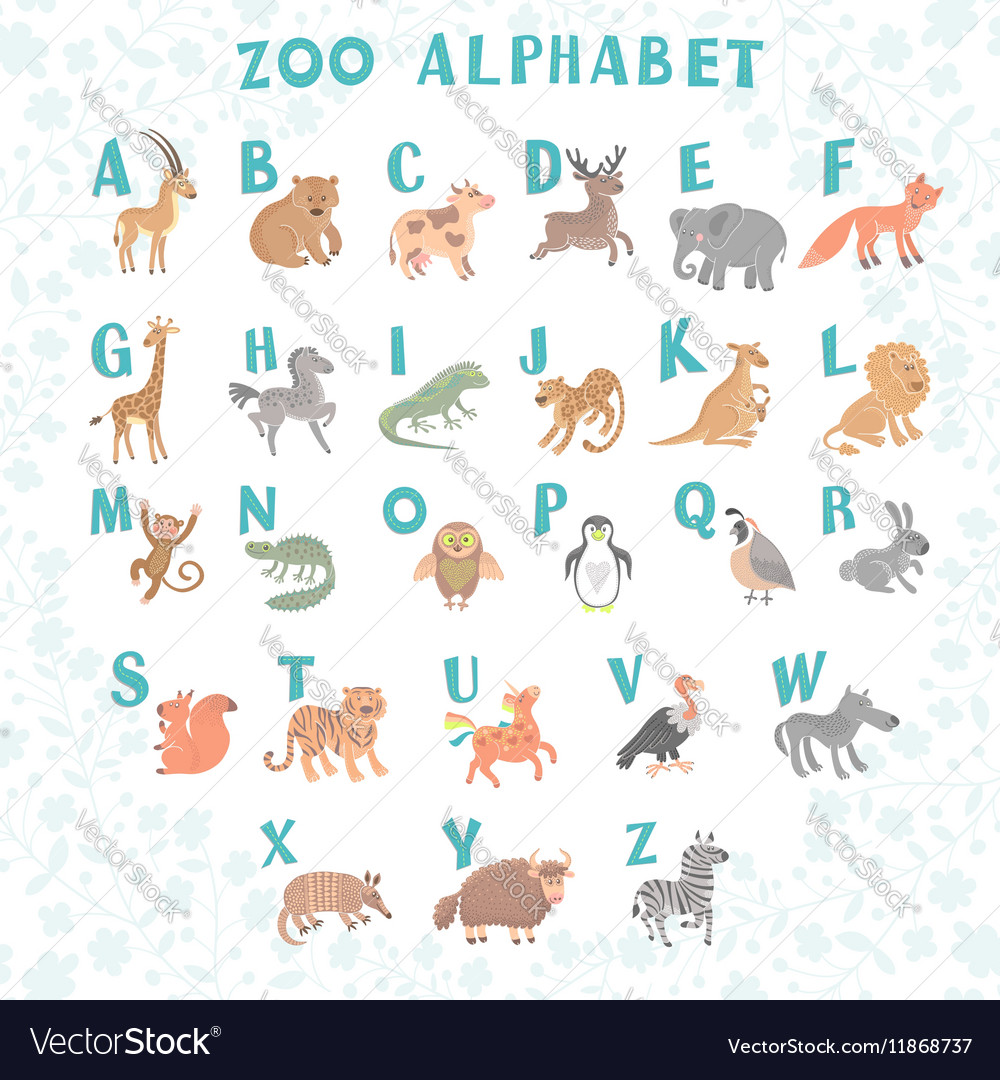 Cute zoo alphabet Funny cartoon animals