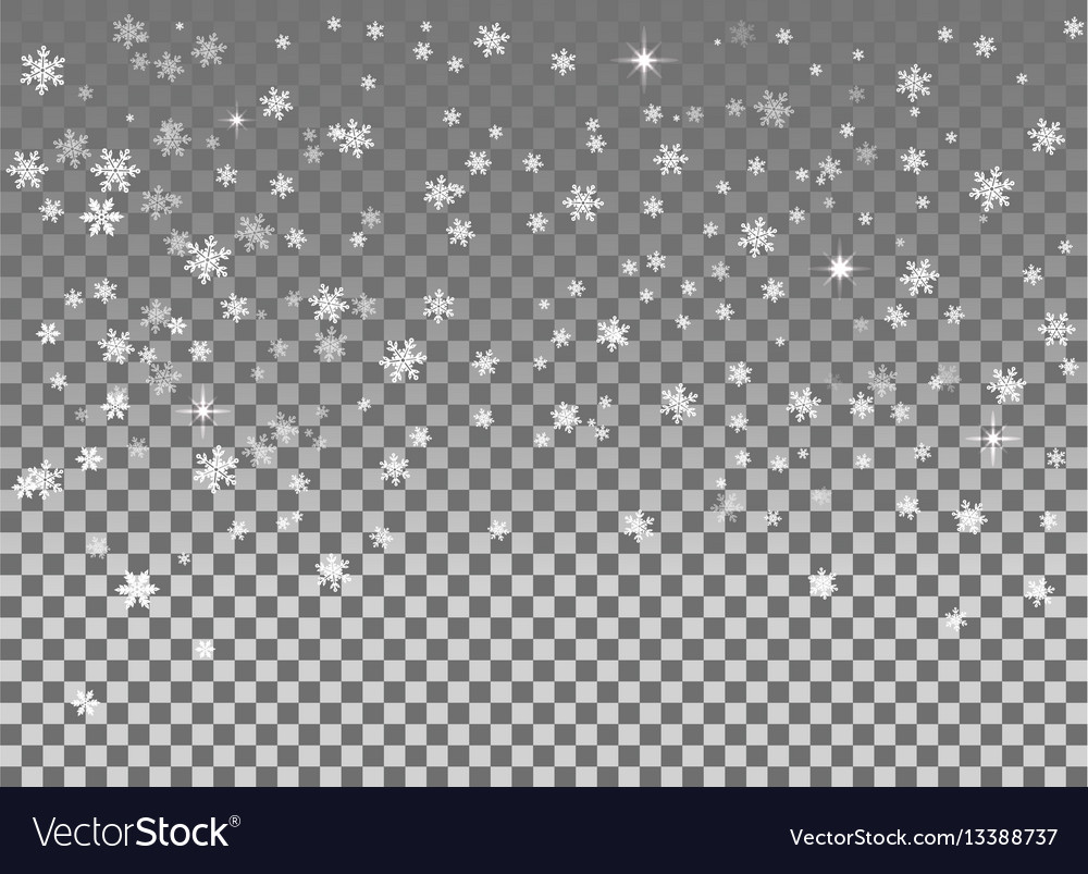 Falling snow isolated on the a transparent