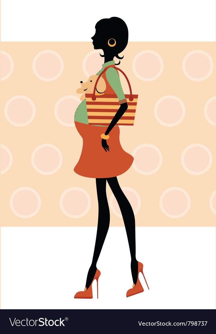Fashionable silhouette mom-to-be vector image