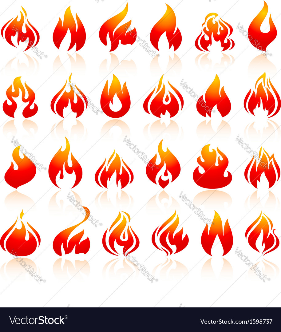 Fire flames set orange icons with reflection